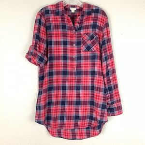 J Crew Plaid Flannel Tunic Metallic Thread Top